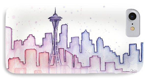Seattle Skyline Watercolor IPhone 7 Case