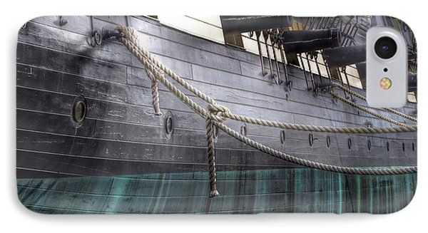 Side Of The Uss Constellation Navy Ship In Baltimore Harbor IPhone Case by Marianna Mills