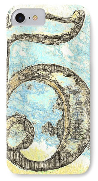 Sketchy Five Drawing IPhone Case by Carol Leigh