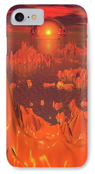 Space Islands Of Orange IPhone Case by Phil Perkins