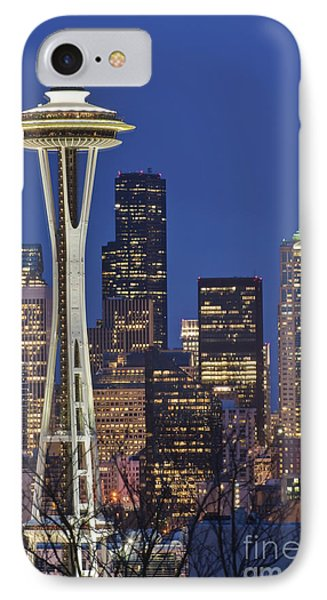 Space Needle And Downtown Seattle Skyline Phone Case by Rob Tilley