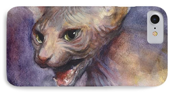 Sphynx Cat Painting IPhone Case by Svetlana Novikova