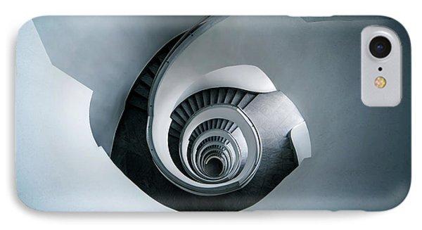 Spiral Staircase In Blue Tones IPhone Case by Jaroslaw Blaminsky