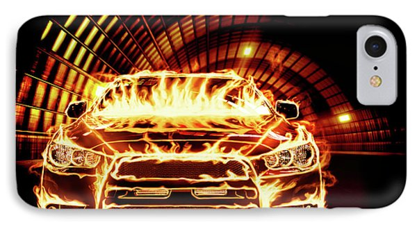Sports Car In Flames IPhone Case by Oleksiy Maksymenko