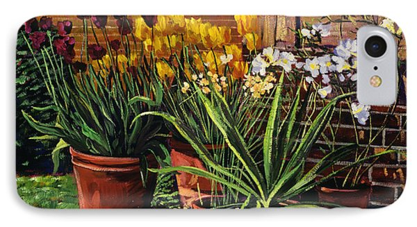Spring Tulips And White Azaleas IPhone Case by David Lloyd Glover
