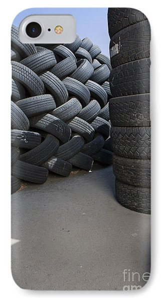 Stacks Of Used Tires IPhone Case by Adam Crowley