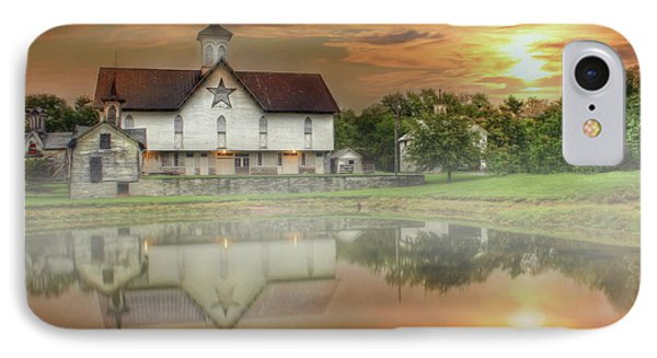 IPhone Case featuring the mixed media Star Barn Sunrise by Lori Deiter