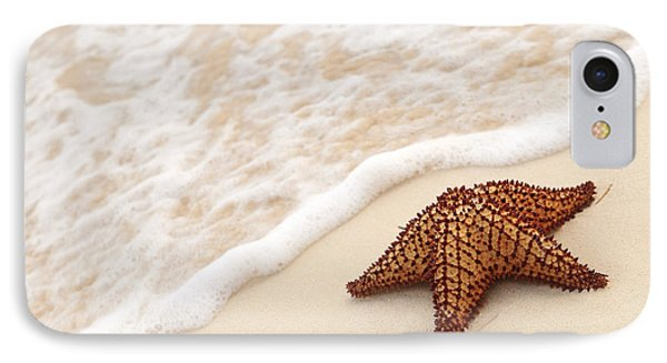Shore iPhone 7 Case - Starfish And Ocean Wave by Elena Elisseeva