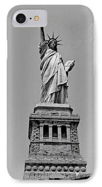 Statue Of Liberty In Black And White IPhone Case by Craig Fildes