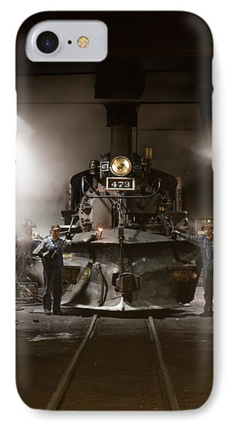 IPhone Case featuring the photograph Steam Locomotive In The Roundhouse Of The Durango And Silverton Narrow Gauge Railroad In Durango by Carol M Highsmith