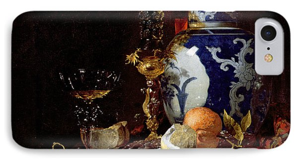 Still Life With A Chinese Porcelain Jar IPhone Case by Willem Kalf