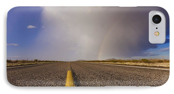 Storm And Rainbow Along The Highway IPhone Case by Jeremy Woodhouse