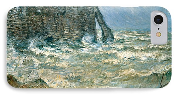 Stormy Sea In Etretat IPhone Case by Claude Monet