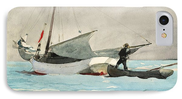 Stowing Sail IPhone Case by Winslow Homer