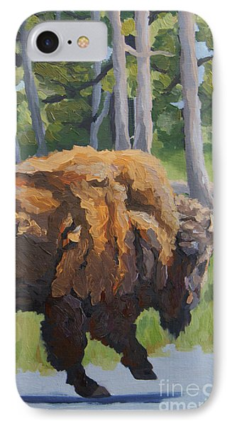 IPhone Case featuring the painting Strutting Along, Yellowstone by Erin Fickert-Rowland