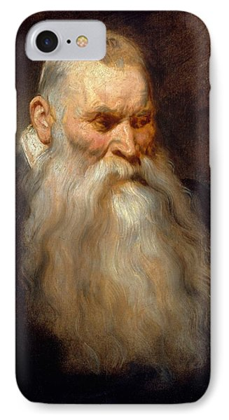 Study Head Of An Old Man With A White Beard IPhone Case by MotionAge Designs