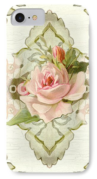 Summer At The Cottage - Vintage Style Damask Roses IPhone Case
