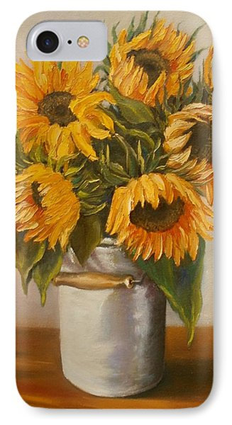 IPhone Case featuring the painting Sunflowers by Nina Mitkova