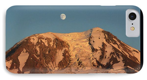 IPhone Case featuring the photograph Sunset And Moonrise At Mt Adams by Jack Moskovita