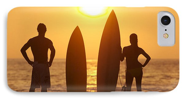 Surfer Silhouettes Phone Case by Larry Dale Gordon - Printscapes