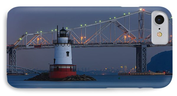 Tarrytown Lighthouse And Tappan Zee Bridge At Twilight Phone Case by Clarence Holmes