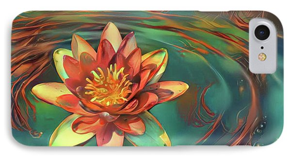 Teal And Peach Waterlilies IPhone Case by Amy Cicconi