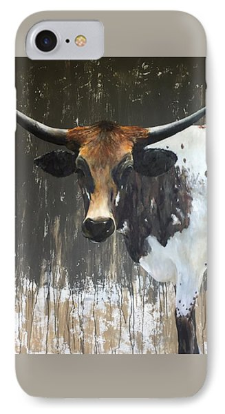 Cow iPhone 7 Case - Texas Longhorn by Cheryl Green