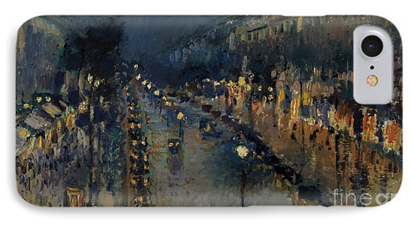 The Boulevard Montmartre At Night IPhone Case by Camille Pissarro