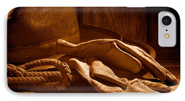 The Cowboy Gloves - Sepia IPhone Case by Olivier Le Queinec