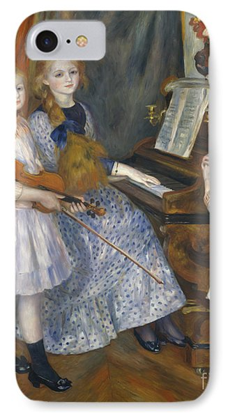 The Daughters Of Catulle Mendes At The Piano, 1888 IPhone Case by Pierre Auguste Renoir