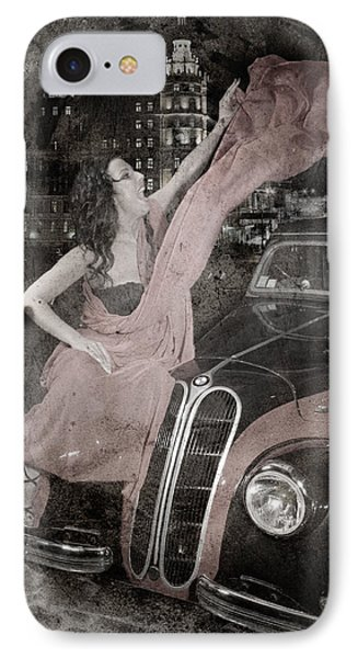 IPhone Case featuring the photograph The Girl On The Background Of Vintage Car. by Andrey  Godyaykin