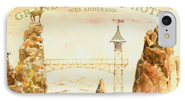The Grand Budapest Hotel Watercolor Painting IPhone Case by Juan  Bosco