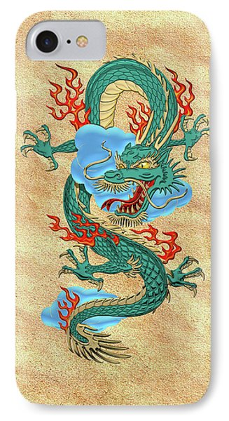 The Great Dragon Spirits - Turquoise Dragon On Rice Paper IPhone Case by Serge Averbukh