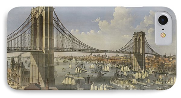 The Great East River Suspension Bridge IPhone Case by Currier and Ives
