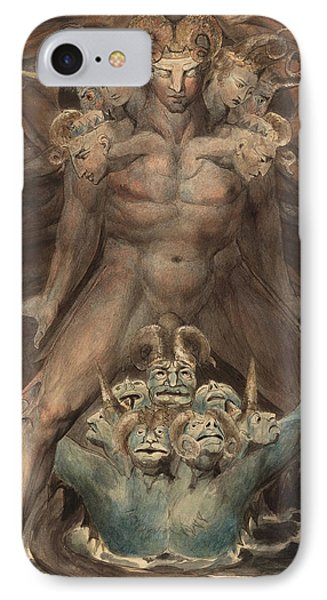 The Great Red Dragon And The Beast From The Sea IPhone Case by William Blake