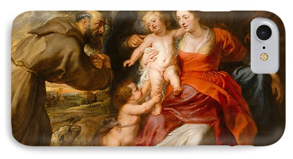 IPhone Case featuring the painting The Holy Family With Saints Francis And Anne And The Infant Saint John The Baptist by Peter Paul Rubens