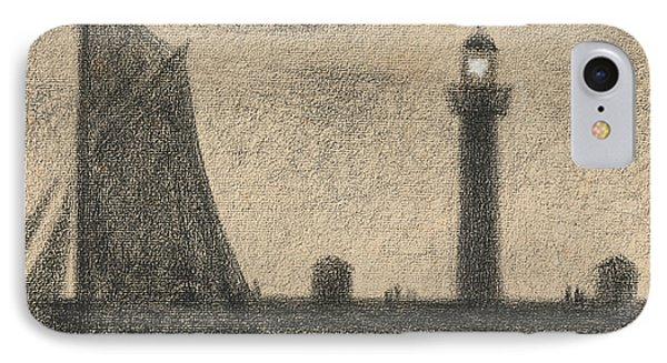 The Lighthouse At Honfleur IPhone Case by Georges-Pierre Seurat