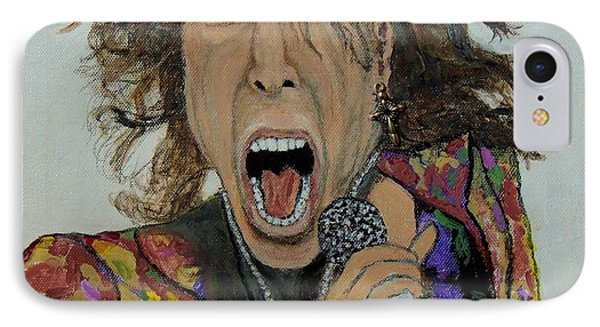 IPhone Case featuring the painting The Madman Of Rock.steven Tyler. by Ken Zabel