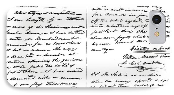 The Victory Of Death Letter Written By The Alamo Commander William Barret Travis, 1836  IPhone Case