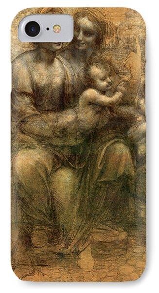 The Virgin And Child With Saint Anne And Saint John The Baptist IPhone Case by Leonardo da Vinci