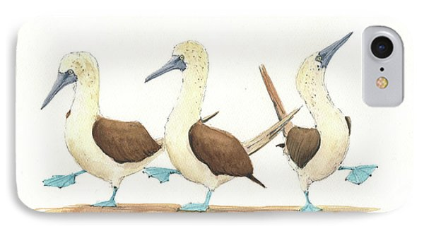Three Blue Footed Boobies IPhone 7 Case by Juan Bosco