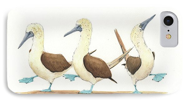 Three Blue Footed Boobies IPhone Case by Juan Bosco