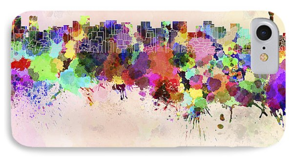 Tokyo Skyline In Watercolor Background IPhone 7 Case by Pablo Romero