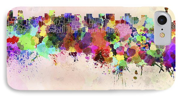 Tokyo Skyline In Watercolor Background IPhone Case by Pablo Romero
