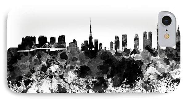 Tokyo Skyline In Watercolor On White Background IPhone 7 Case by Pablo Romero