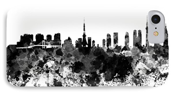 Tokyo Skyline In Watercolor On White Background IPhone Case by Pablo Romero
