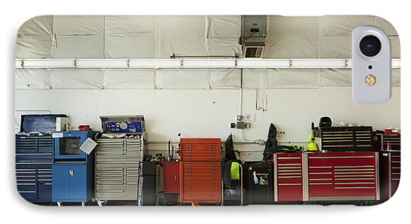 Tool Chests In An Automobile Repair Shop Phone Case by Don Mason