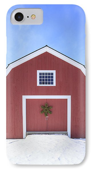 Traditional New England Red Barn In Winter IPhone Case by Edward Fielding