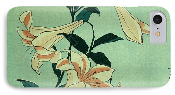 Trumpet Lilies IPhone Case by Hokusai