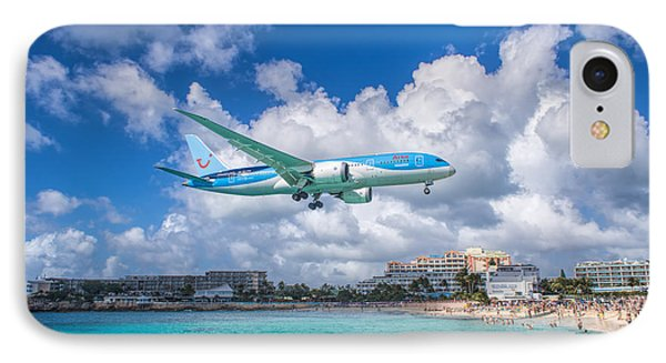Tui Airlines Netherlands Landing At St. Maarten Airport. IPhone Case by David Gleeson